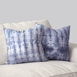"Hand-dyed Pale Violet Shibori 18x18"" Pillow Cover Set (2)"