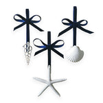 Three-Piece White Shell Ornament Set with Navy Ribbon