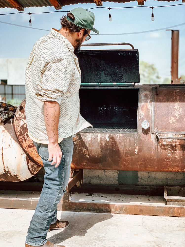 Mark Scott wears his Chisos boots at Convenience West BBQ in Marfa, Texas