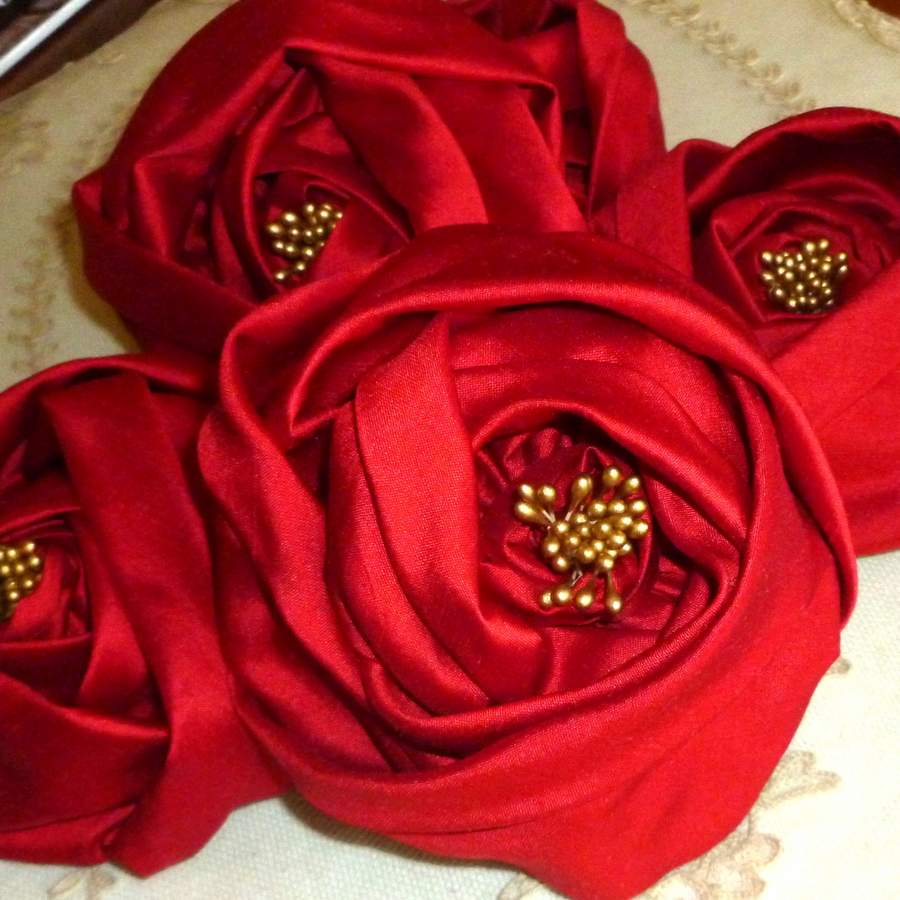Crimson Silk Rose Ribbon Flower