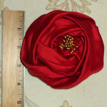 Load image into Gallery viewer, Crimson Silk Rose Ribbon Flower