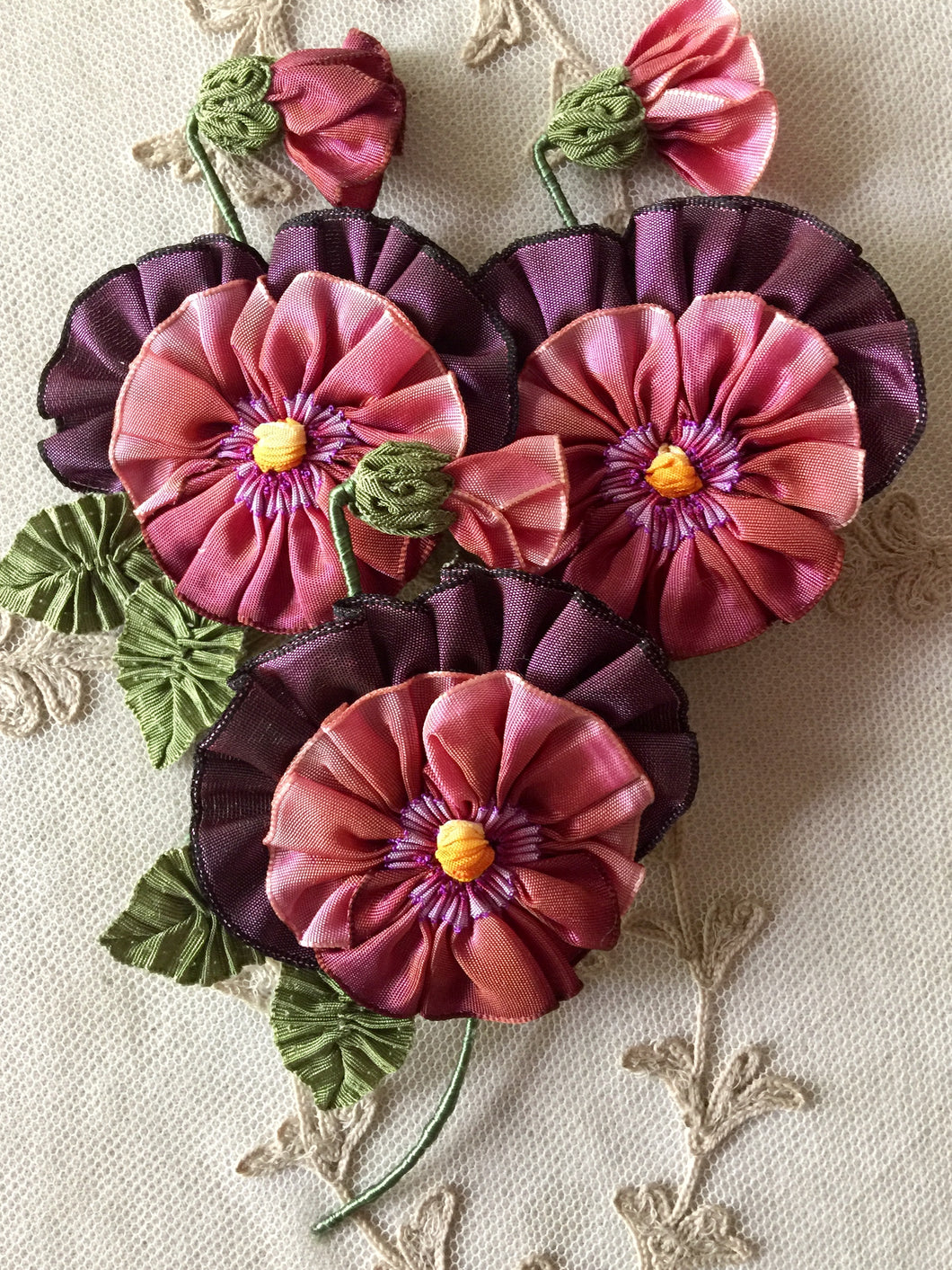 French Ombre Ribbon Flower Pansy