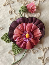 Load image into Gallery viewer, French Ombre Ribbon Flower Pansy