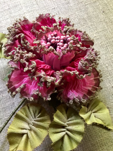 Vintage French Picot Ribbon Rose