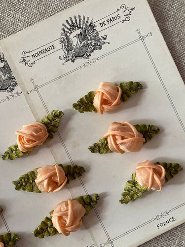 Antique French Silk Roses Appliques