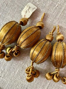 Silk Gold Metal Thread Bobbles in Four Different Colors