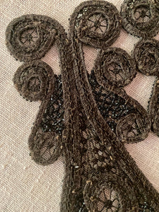 Victorian Black Glass Beaded Appliques