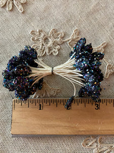 French Millinery Buds Iridescent Glitter Black or White