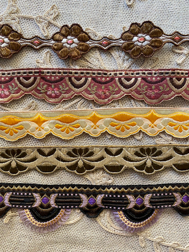 Five Different Antique Woven French Trims
