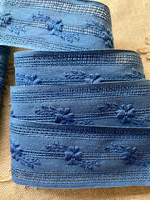 Load image into Gallery viewer, Indigo Blue Embroidered Cotton Trim