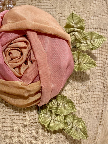 Pink Faded Rose with Antique French Picot Ombre Leaves
