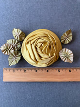 Load image into Gallery viewer, Satin Rose with Picot and Silk Ombre Ribbon Leaves