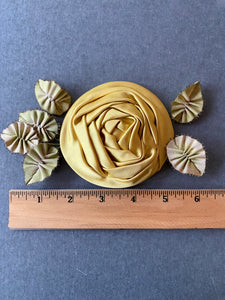 Satin Rose with Picot and Silk Ombre Ribbon Leaves