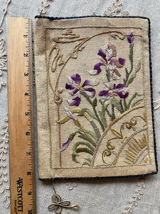 Hand Embroidered Art Nouveau Linen Book Cover