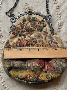 Antique French Petit Point Handbag with Silver Fittings