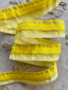 Vintage Yellow Ombre Chenille & Tinsel Ribbons