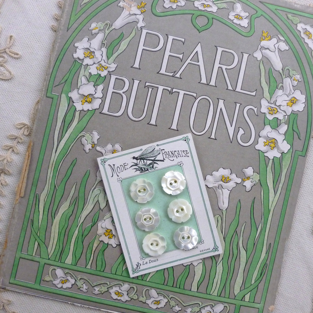 French Card Carved Mother of Pearl Buttons