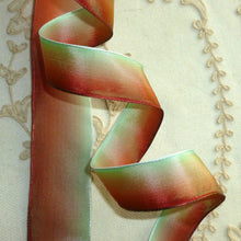 Load image into Gallery viewer, French Ombre Ribbon Rust Green Ombre