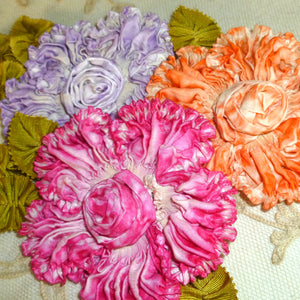 Art Dyed Silk Ruched Ribbon Flower