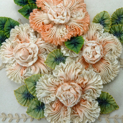 Art Dyed Silk Coral & Ivory Ruched Ribbon Flower
