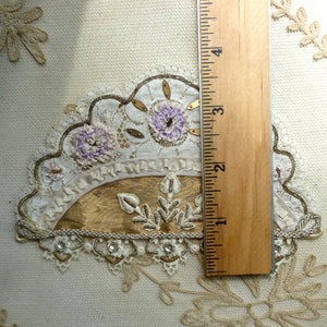 Superb Antique French Ribbon Lace Embroidered Rhinestone Spangled Appliqué