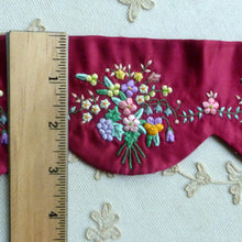 Load image into Gallery viewer, Silk Satin Padded Embroidered Flowers Turkey Red Scalloped Trim