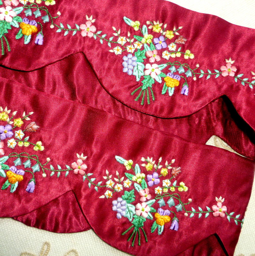 Silk Satin Padded Embroidered Flowers Turkey Red Scalloped Trim