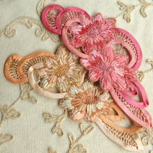 Load image into Gallery viewer, Hand Embroidered Silk Chenille and Bias Trim Applique