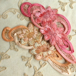 Hand Embroidered Silk Chenille and Bias Trim Applique