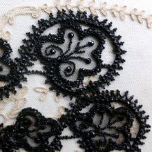 Load image into Gallery viewer, Victorian Black Glass Beaded and Net Appliques