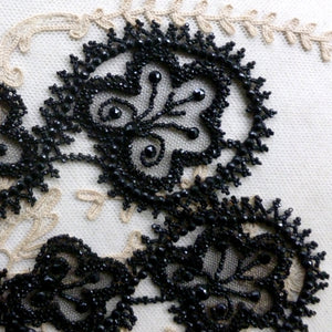 Victorian Black Glass Beaded and Net Appliques