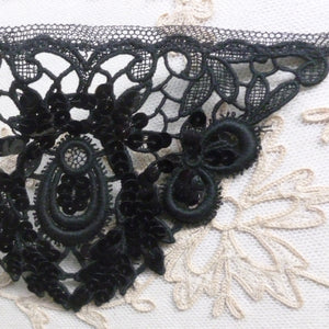 Pair of Hand Sewn Sequins and Lace Appliques Circa 1930/40's