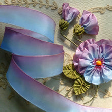 Load image into Gallery viewer, Blue and Pink French Ombré Wired Ribbon