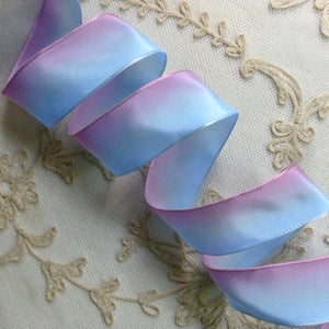 Blue and Pink French Ombré Wired Ribbon