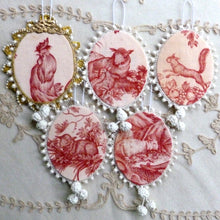 Load image into Gallery viewer, Sets of French toile de Jouy Ornaments