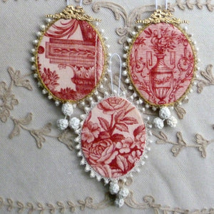 Sets of French toile de Jouy Ornaments