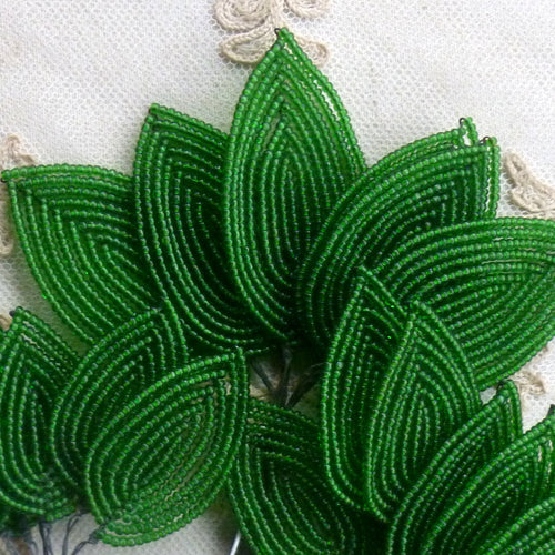 French Beaded Leaves in three sizes