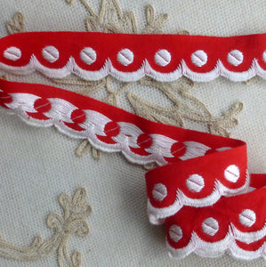 Turkey Red Polka Dot and Scalloped Vintage Trim