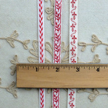 Load image into Gallery viewer, Antique French Woven Trims in Turkey Red