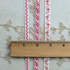 Antique French Woven Trims in Turkey Red
