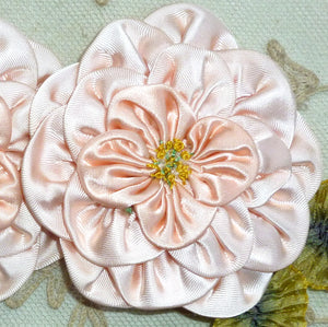 Vintage Pink Satin Wild Rose Ribbon Flower