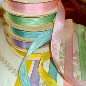 Vintage Moire Ribbon Trim Easter Colors 5 Yards