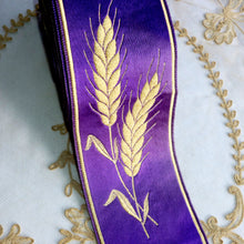 Load image into Gallery viewer, Royal Purple and Wheat Motif Ribbon Trim