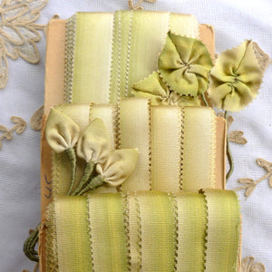 Antique Silk Picot Green Ombre Ribbon