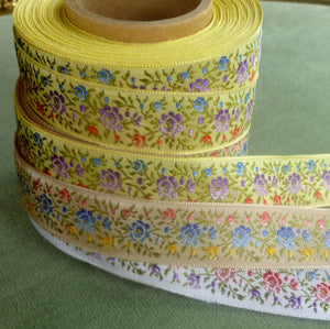 Vintage Ribbon by the Roll - Petite Shaded Roses Ribbon Trim
