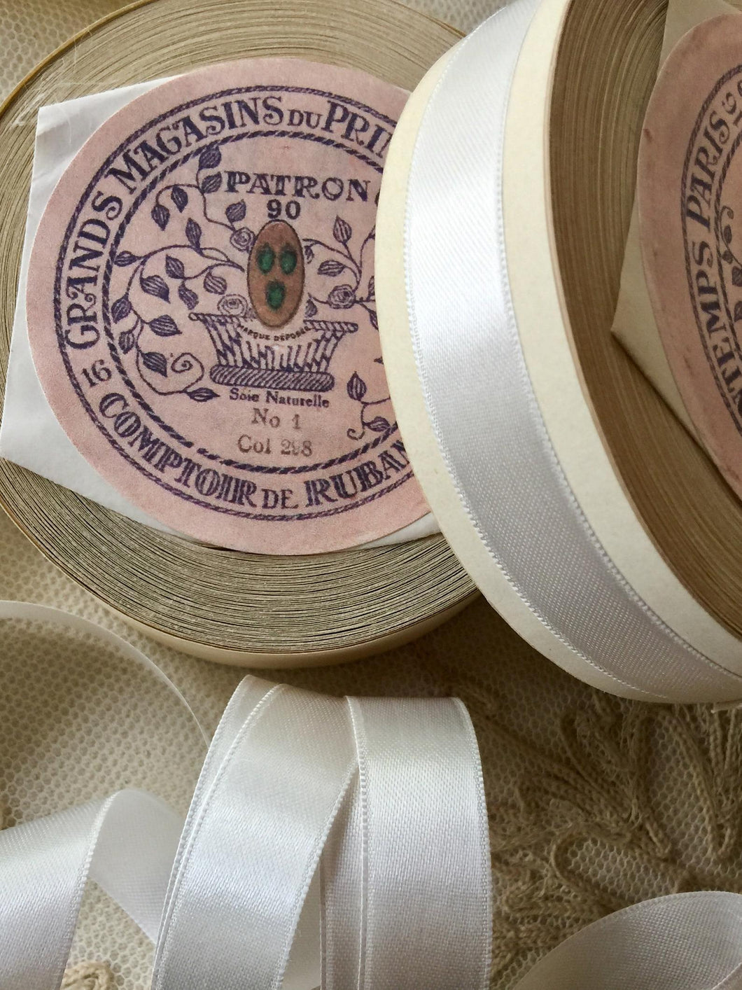 Vintage Satin Ribbon By the Roll Ivory