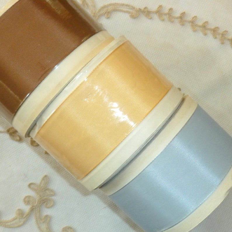 Vintage Ribbon by the Roll - Taffeta Ribbon in Three Colors