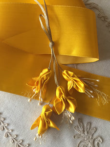 Vintage Ribbon by the Roll - Georgian Yellow Silk Satin Ribbon