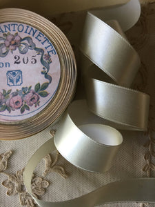 Vintage Ribbon By the Roll Blue/Grey Silk Satin