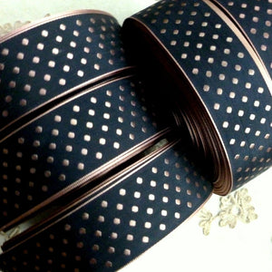Vintage Ribbon by the Roll - Woven Polka Dot Ribbon in Four Colors and Two Widths